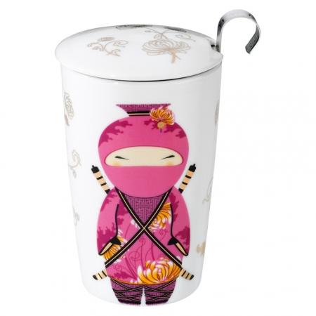 Tisanière ninja rose avec filtre