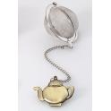 Boule à thé théière dorée